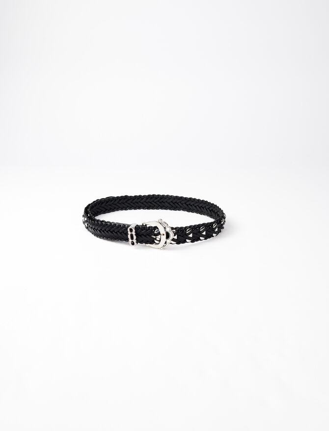 Braided leather belt with studs - Belts - MAJE