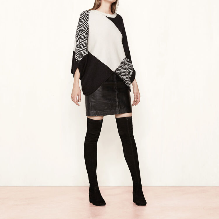 Poncho-style jumper in variety of knits : Collection color Two-Tone