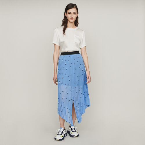 Long pleated embroidered skirt : Skirts & Shorts color Black