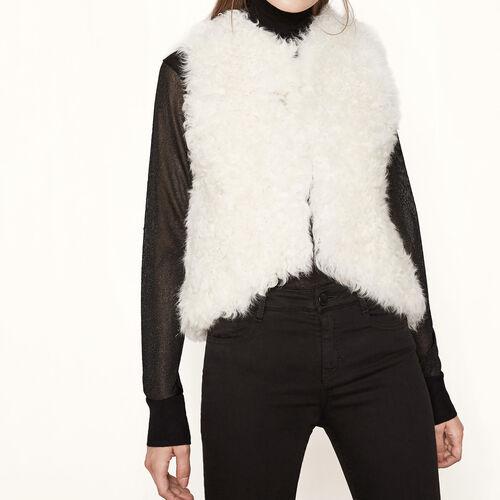 Sleeveless fur jacket : Blazers & Jackets color Beige