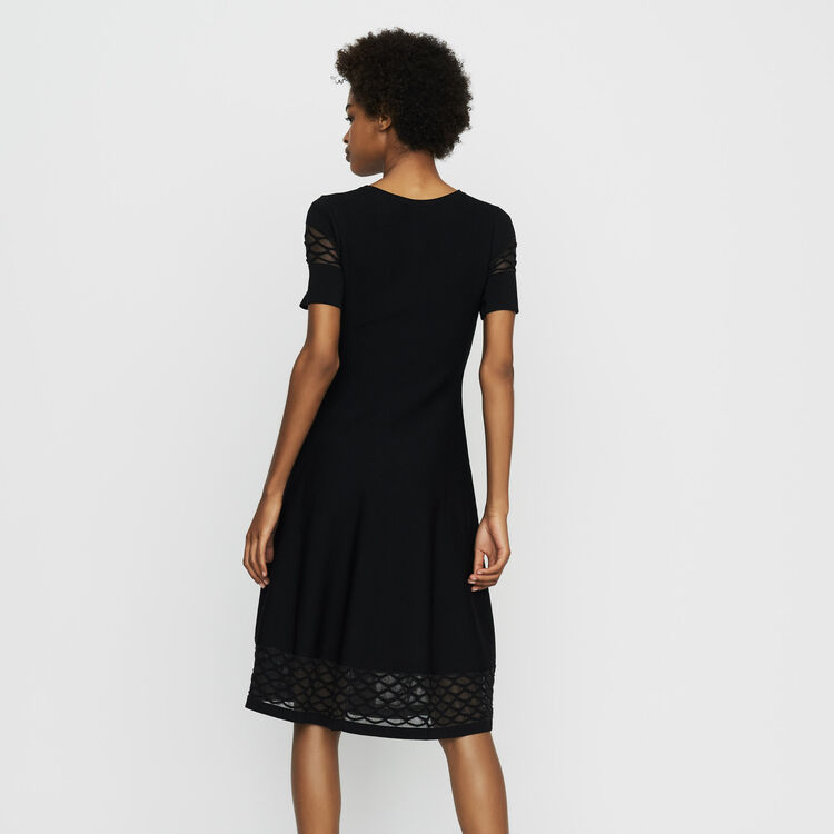 Stretch knit dress with tulle detailing : Dresses color Black 210
