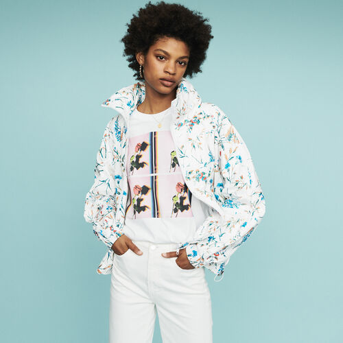 Windbreaker with floral print : Coats & Jackets color Printed