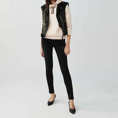 Sleeveless leather jacket : Jackets color Black 210