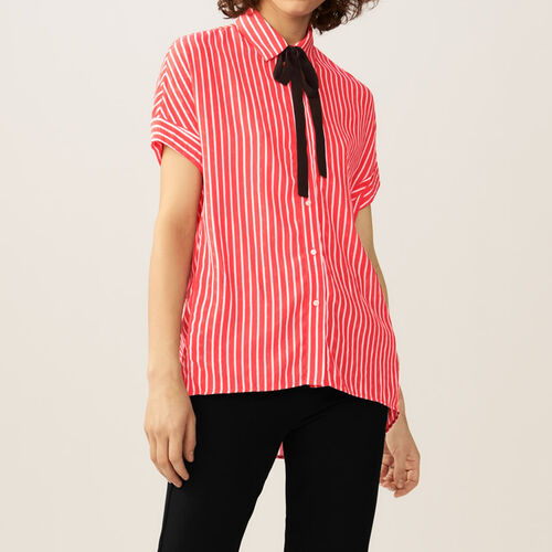 Striped shirt with ascot tie : Tops color Stripe