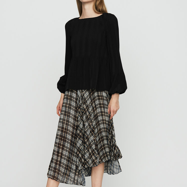 Pleated plaid asymmetric skirt : Skirts & Shorts color CARREAUX