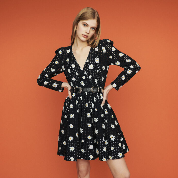 Dress in daisy guipure : Dresses color Printed