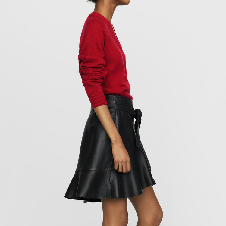 Asymmetric leather skirt : Skirts & Shorts color Black 210