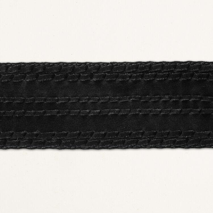 Wide suede belt : Other accessories color Black 210