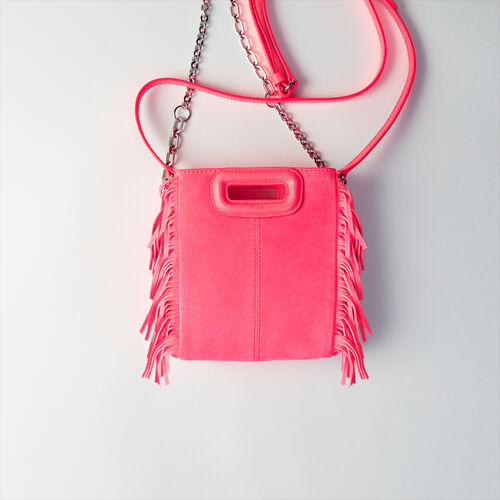 Quilted velvet crossbody bag : M Mini color Fluorescent Pink