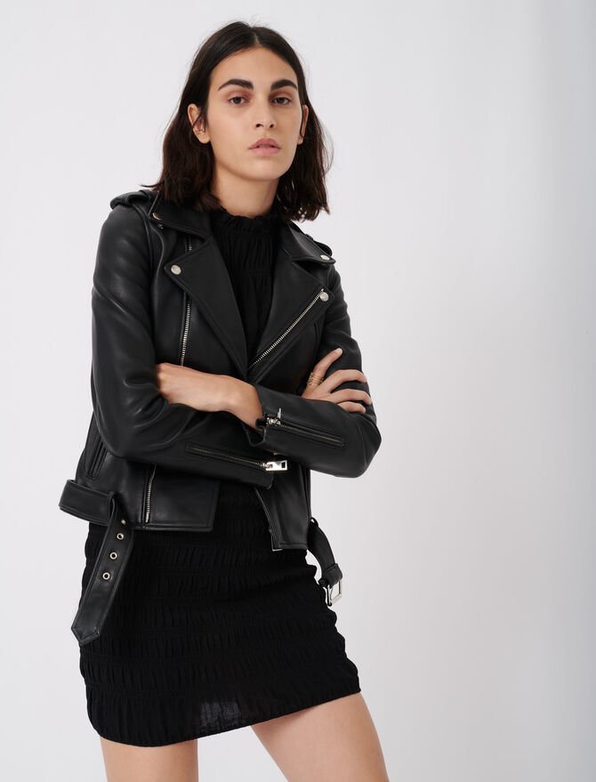 Leather biker jacket and belt - Eco-friendly - MAJE