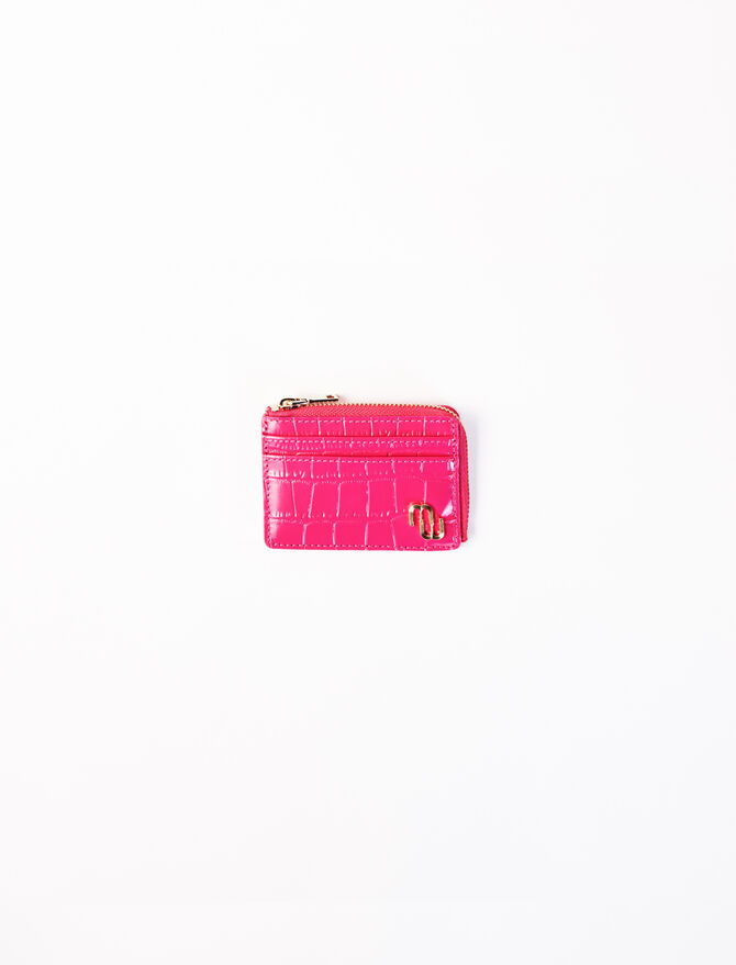 Embossed leather zip-up card holder -  - MAJE