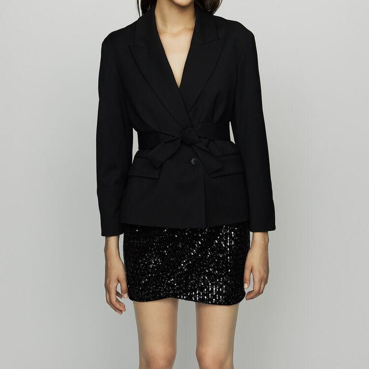 Cropped jacket in virgin wool : Blazers color Black 210