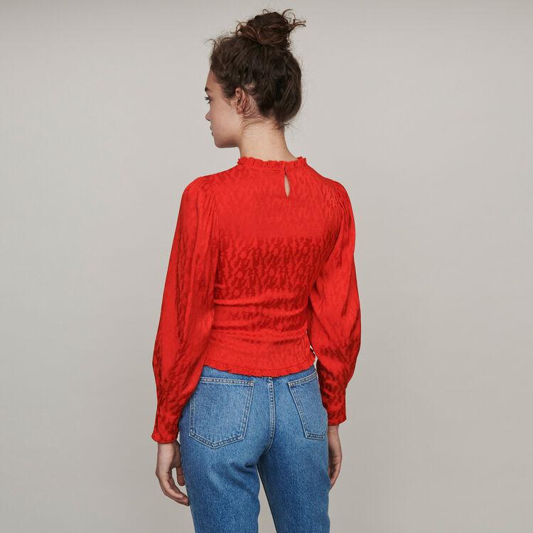 Satin jacquard smock top : Tops & Shirts color Red