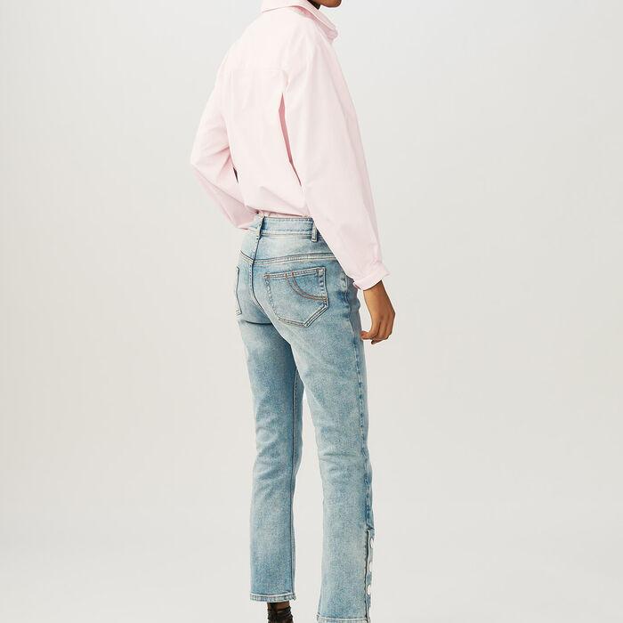 Flared 7/8 denim jeans : Jeans color Denim