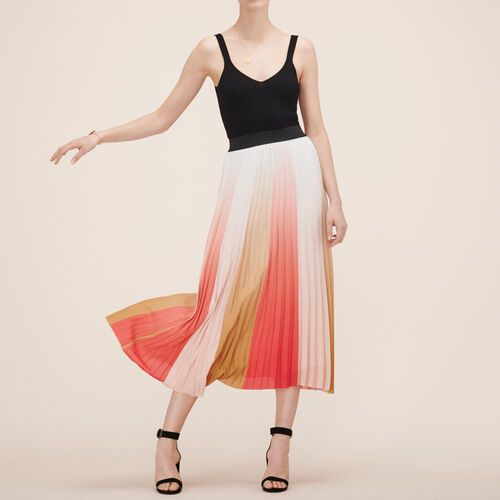 Pleated long skirt : Skirts & Shorts color Print