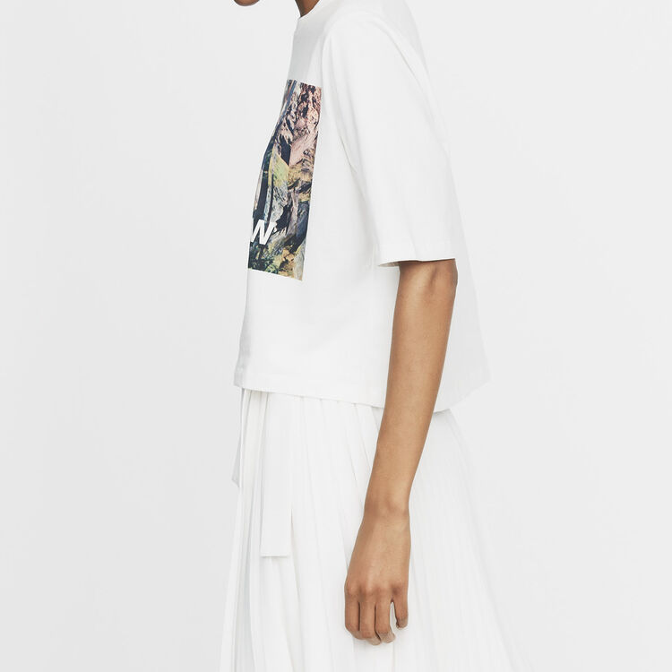 Cropped printed T-shirt : T-Shirts color White