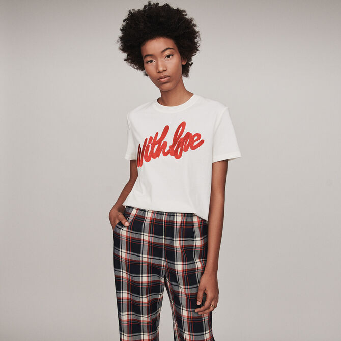 Tee-shirt with embroidered slogan - See all - MAJE