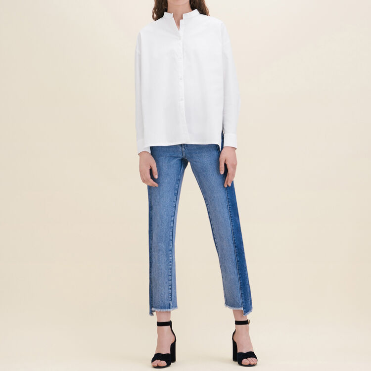 Asymmetric poplin shirt : Tops color White