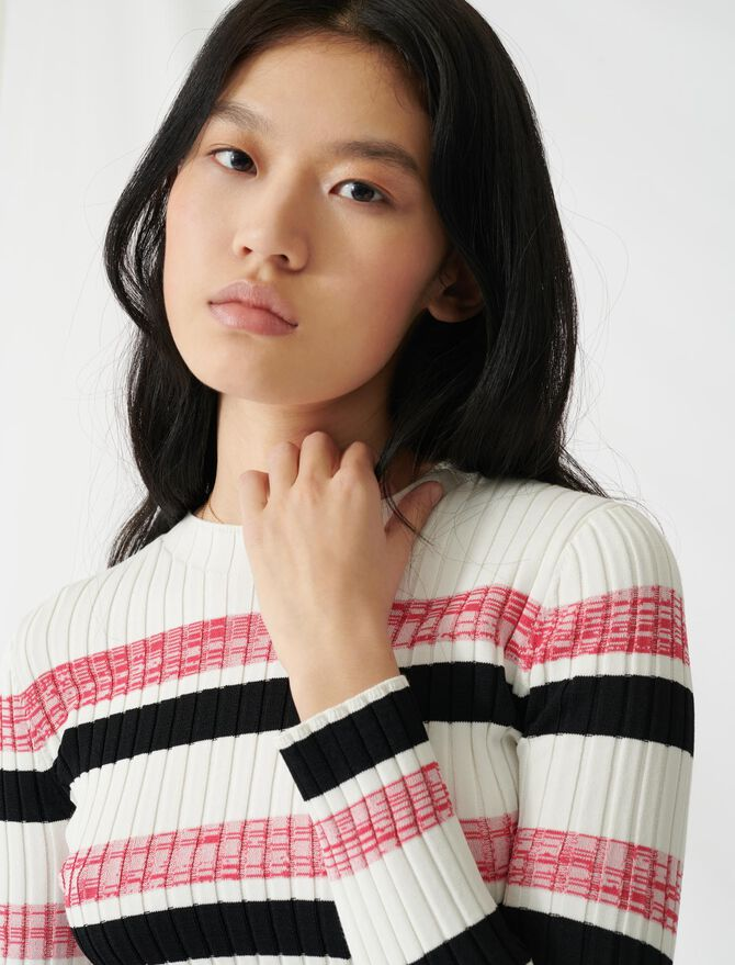 Striped ribbed knit jumper -  - MAJE