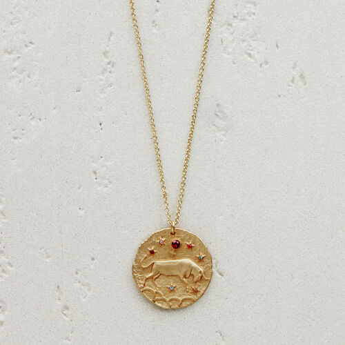 Taurus zodiac sign necklace : See all color GOLD