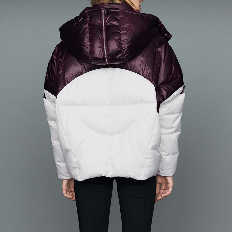 Cropped bicolor down jacket : Coats color White