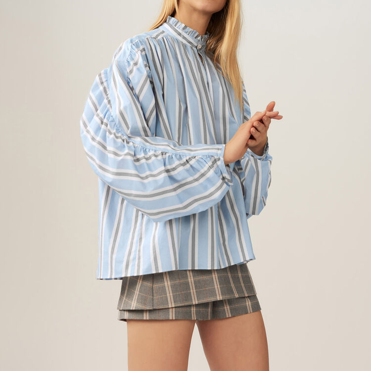 Oversize striped blouse with ruffles : Tops color PRINTED