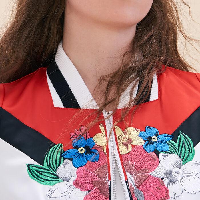 Embroidered satin varsity jacket - BOMBER JACKET - MAJE