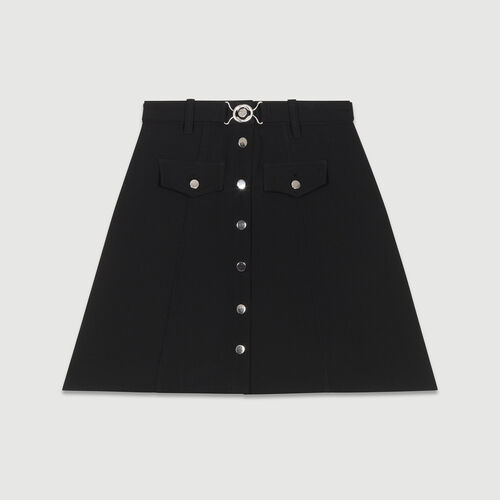Belted trapeze skirt : Skirts & Shorts color Black 210
