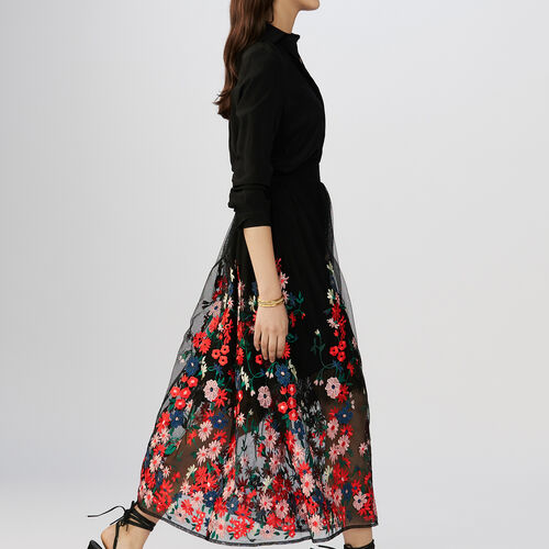 Skirt in mesh with flowers embroideries : Skirts & Shorts color Black 210