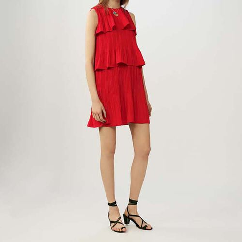 Sleeveless pleated flounced dress : Dresses color ROUGE