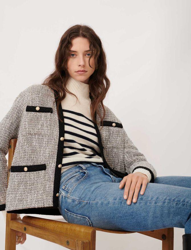 Tweed-style jacket with contrast details - Blazers - MAJE