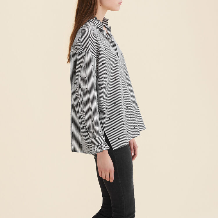 Blouse with stripes and mixed polka-dots : Tops color PRINTED