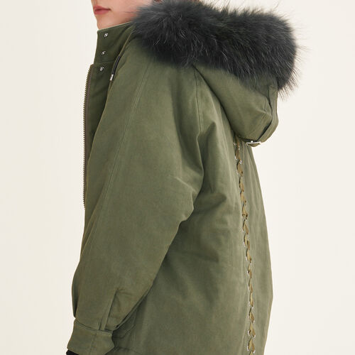 Parka with fur hood - Coats - MAJE