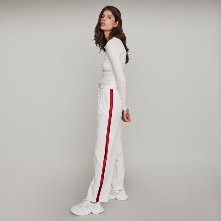 Wide-leg pants with contrasting stripes : Trousers & Jeans color Ecru