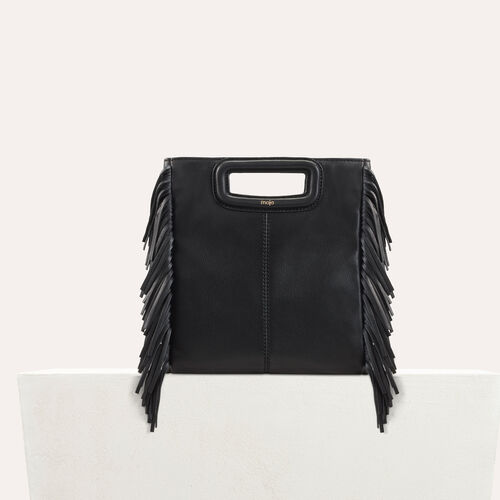 M bag with leather fringes : New Collection color Black 210