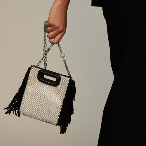 Mini suede and strass M bag : M Mini color Black