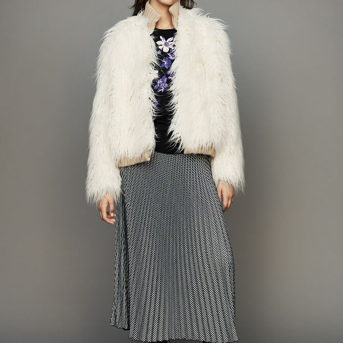 Cropped faux fur coat - See all - MAJE