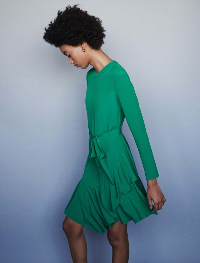 Asymmetrical crepe dress - SoldesFR_40 - MAJE