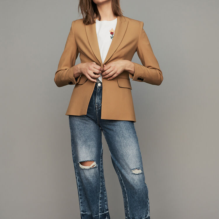 Piped jacket : Blazers color Camel