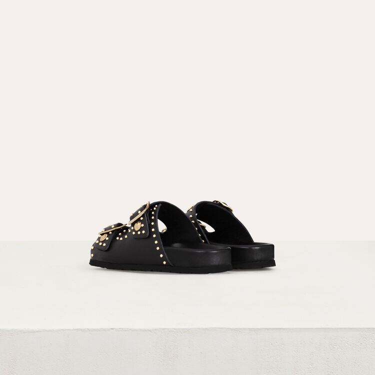 Leather sandals decorated with studs : Flat shoes color Black