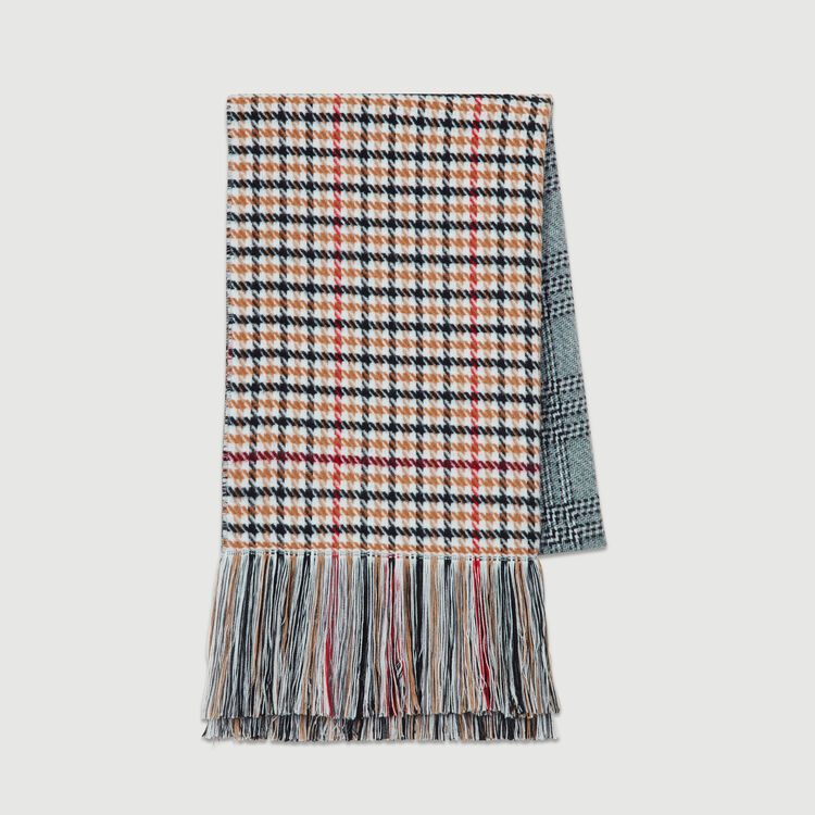 Knit scarf in plaid mix : New collection color Multico