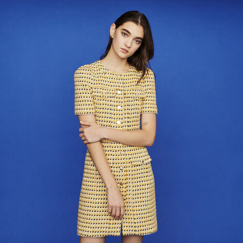 Short dress in tweed and lurex : New in : Summer Collection color Yellow