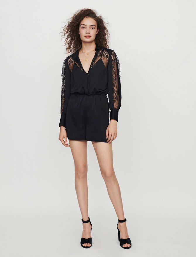 Satin and lace playsuit - Trousers & Jeans - MAJE
