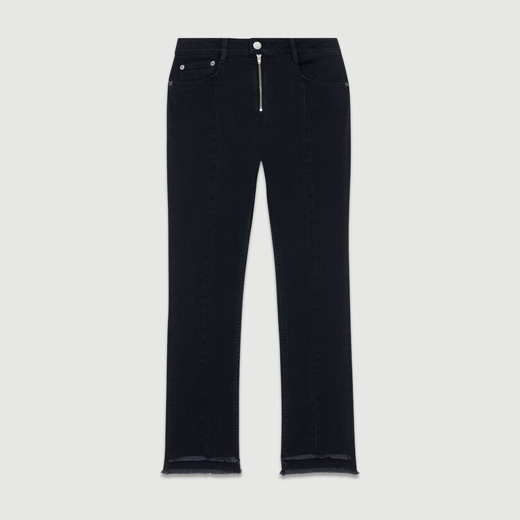 Asymmetric jeans with fringe : Trousers color Grey