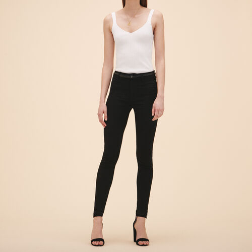 Cotton slim jeans : Jeans color Black 210