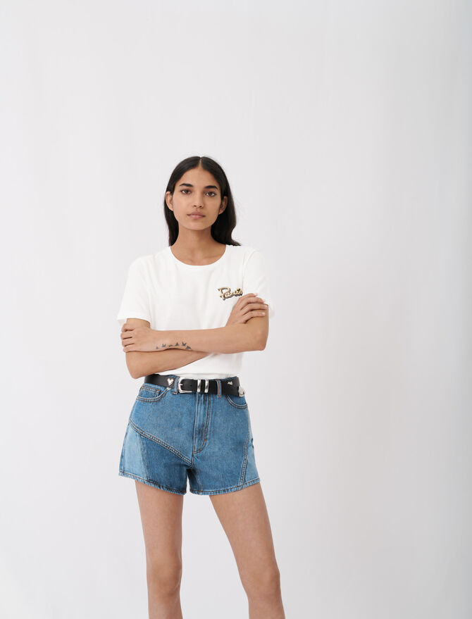 Embroidered short-sleeved T-shirt - tout voir - MAJE