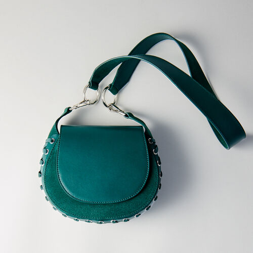 Laceup leather and suede Gyps PM handbag : Other M color GREEN
