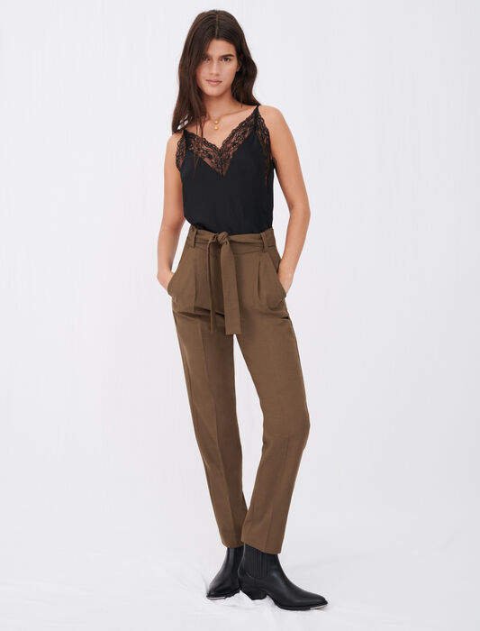 Straight-cut belted suit trousers : Trousers & Jeans color Brown