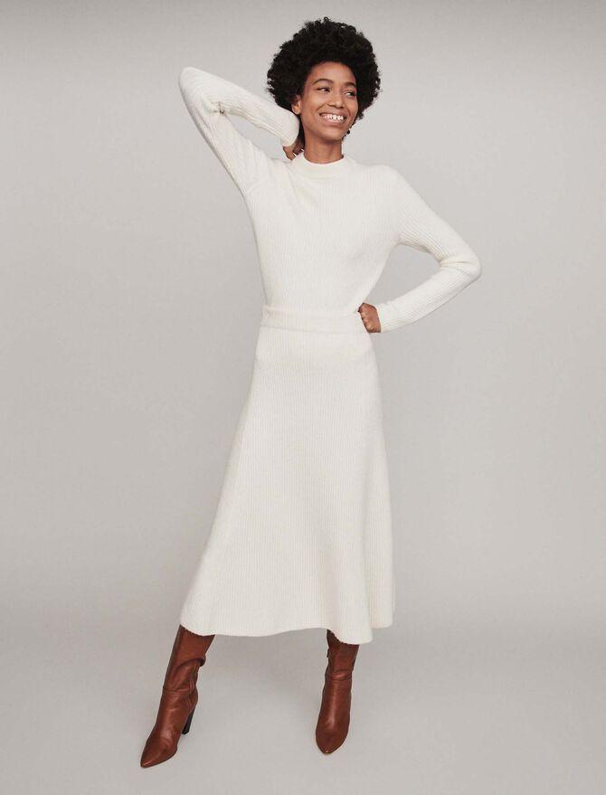 Calf-length ribbed skirt - SoldesBE_40 - MAJE