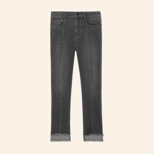 Asymmetric hem jeans : Trousers & Jeans color Grey